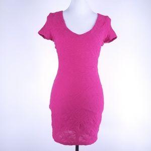 Bebe bright pink bodycon bandage short sleeve mini